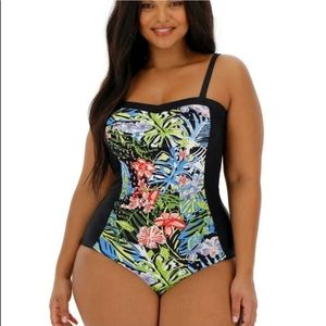 Magisculpt Blue Rose Floral One Piece Suit Size 24